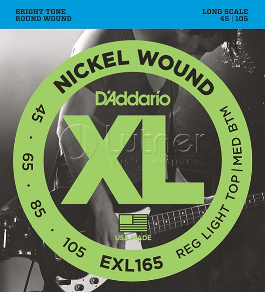 картинка EXL165 XL NICKEL WOUND Струны для бас-гитары Long Regular Ligth Top Medium Bottom 45-105 D`Addario от магазина Живой Звук